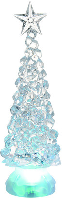 Transpac Set Of 2 Plastic Small Clear Christmas Light Up Classic Shimmer Trees