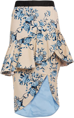 Johanna Ortiz Entre Dos Aguas Ruffled Cotton-blend Twill Peplum Skirt