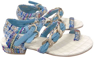 Chanel Blue Tweed Sandals
