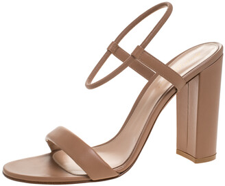 Gianvito Rossi Brown Leather Nikki Ankle Strap Sandals Size 41