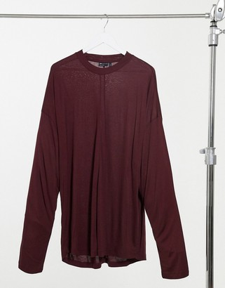 ASOS DESIGN oversized viscose long sleeve t-shirt with batwing sleeves in Brown