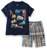 Kids Headquarters Baby Boys Construction Zone Two-Piece Tee and Shorts Set