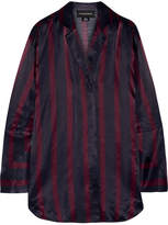 By Malene Birger Fridari Striped Washed-satin Shirt - Midnight blue