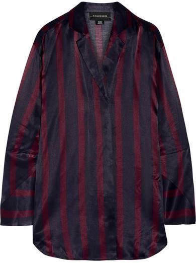 By Malene Birger Fridari Striped Washed-satin Shirt - Midnight blue