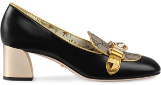 Gucci Leather and GG Supreme mid-heel pumps