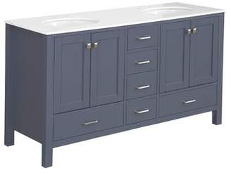 "Three Posts Cheshunt Full Cabinet 60"" Double Bathroom Vanity Set Top Finish: Quartz, Base Finish: Charcoal Gray"
