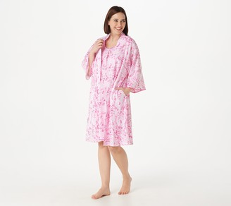 Carole Hochman Cotton Button Front Kimono and Chemise Set