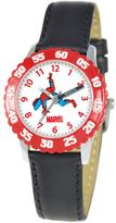 Marvel Kid's Spider-Man Stainless Steel Time Teacher Watch with Rotating Bezel - Black Leather Strap