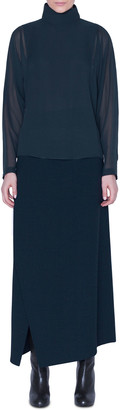 Akris Draped-Back Silk Tunic