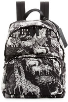 Prada Tessuto Animal Kingdom Backpack, Black/White