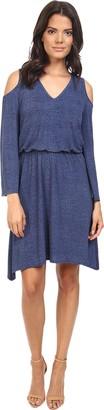 London Times Women's V Neck Blouson Hanky Hem Dress with Cold Shoulder Cutouts