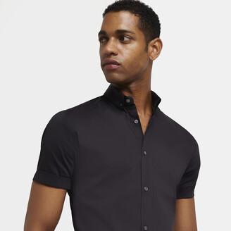 River Island Mens Black muscle fit short sleeve shirt