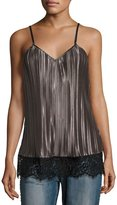 Glamorous Pleated-Satin Lace-Trim Camisole Top, Charcoal