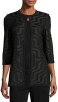 Ming Wang Shimmery Geometric-Print Jacket, Black