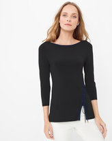 White House Black Market Contrast Lace Up Hem Pullover Sweater