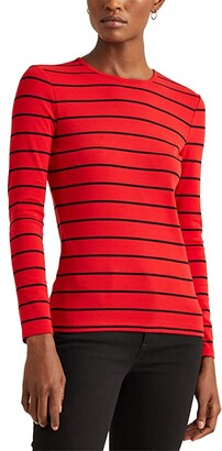 Lauren Ralph Lauren Petite Striped Cotton-Blend Top (Lipstick Red/Polo Black) Women's T Shirt