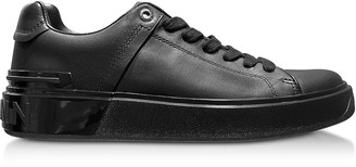 Balmain Black Leather Lace up Women's Sneakers