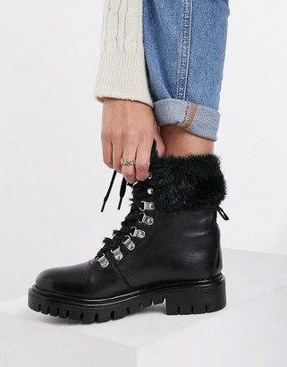 Rule London leather faux fur lined hiker boots in black