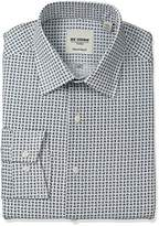 Ben Sherman Men's Slim Fit Mini Paisley Print Spread Collar Dress Shirt