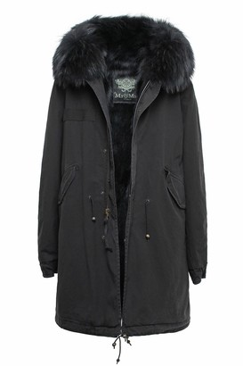 Mr & Mrs Italy Exclusive Fw20 Icon Parka: Black Parka Patch Fox Raccoon Fur