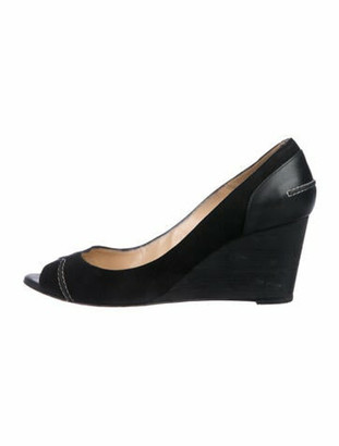 Christian Louboutin Suede Peep-Toe Pumps Black
