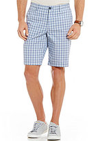 Original Penguin Yarn Dye Flat-Front Plaid Shorts