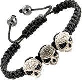 JCPenney Mens Gray Crystal Skulls & Hematite Bracelet
