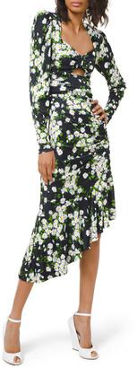 Michael Kors Collection Daisy Bouquet Ruched Jersey Asymmetric Dress