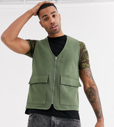 Asos Design DESIGN Tall jersey utility vest in khaki
