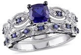1.9 Count. T.W. Created Blue Sapphire and 1/10 Count. T.W. Diamond Vintage Bridal Set in 10k White Gold with Black Rhodium