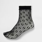 River Island Womens Black lattice fishnet ankle socks