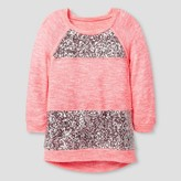 Miss Chievous Girls' Sequined Raglan Sleeve Tunic - Pink