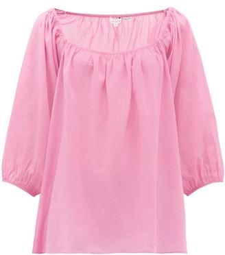 Rhode Resort Stella Square-neck Cotton-muslin Top - Pink