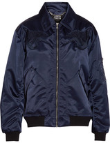 Markus Lupfer Amelia Embroidered Shell Bomber Jacket - Navy