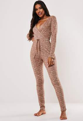 Missguided Mocha Soft Knit Wrap Front Loungewear Jumpsuit