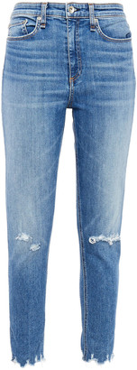 Rag & Bone Cropped Distressed High-rise Skinny Jeans