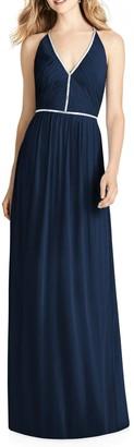Jenny Packham Pleat Bodice Chiffon A-Line Gown