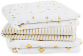 Aden Anais aden + anais Silver Printed White Swaddling Blanket 70x70cm - Pack of 3