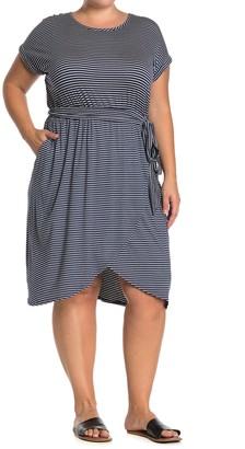 Como Vintage Short Sleeve Faux Wrap Dress (Plus Size)