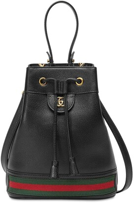 Gucci OPHIDIA LEATHER BUCKET BAG