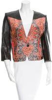 Helmut Lang Leather Jacquard-Paneled Jacket w/ Tags