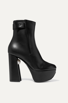 Nicholas Kirkwood Miri Faux Pearl-embellished Leather Platform Ankle Boots - Black