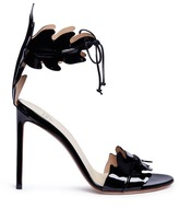 Francesco Russo Leaf cutout patent leather sandals