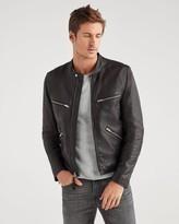 7 For All Mankind 7fam7 Cafe Racer Black Leather Jacket