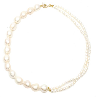 Poppy Finch 14k Gold Mixed Pearl Double Strand Necklace