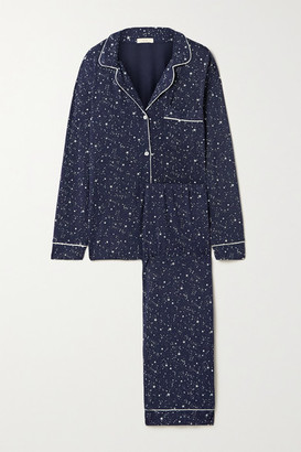 Eberjey Gisele Piped Printed Stretch-modal Pajama Set - Navy