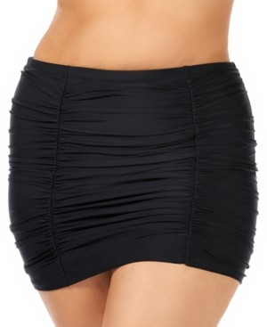 Raisins Curve Trendy Plus Size Juniors' Ruched Costa High-Waist Swim Skirt Women's Swimsuit