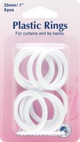 Hemline H471.25 | White Plastic Curtain Rings | 25mm x | 8 pieces