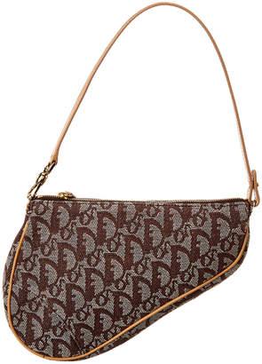 Christian Dior Brown Trotter Canvas Mini Saddle Bag