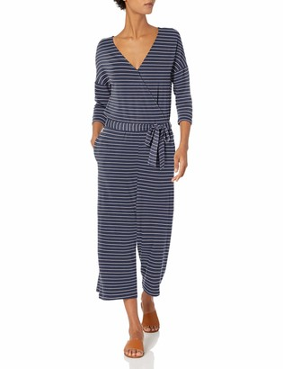 Daily Ritual Women's Standard Supersoft Terry Elbow-Sleeve Overlap Jumpsuit